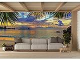 Fotomural Vinilo para Pared Atardecer Playa Tropical | Fotomural para Paredes | Mural | Vinilo Decorativo | Varias Medidas 350 x 250 cm | Decoración comedores, Salones, Habitaciones.