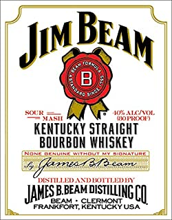 Desperate Enterprises Jim Beam White Label Tin Sign, 12.5