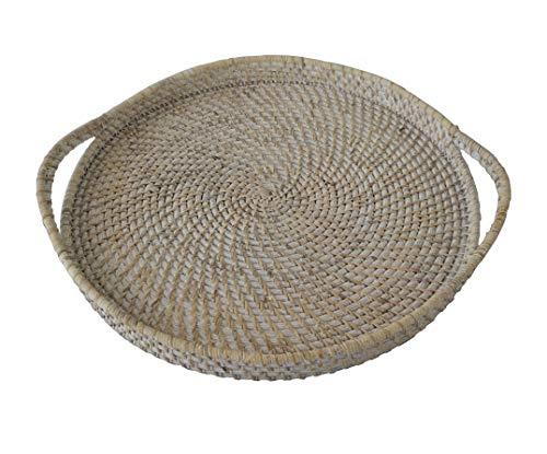 Bandejas redondas de mimbre y bandejas con asas | hechas a mano para desayuno, comida, plato, café, cestas de servir pan para el hogar y restaurantes – 18 pulgadas de diámetro (encalado)