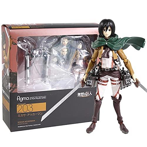 Figma Anime Attack On Titan Eren Jaeger 207 Mikasa Ackerman 203 Levi 213 PVC Colección De Figuras De Acción Modelo De Juguete 14Cm