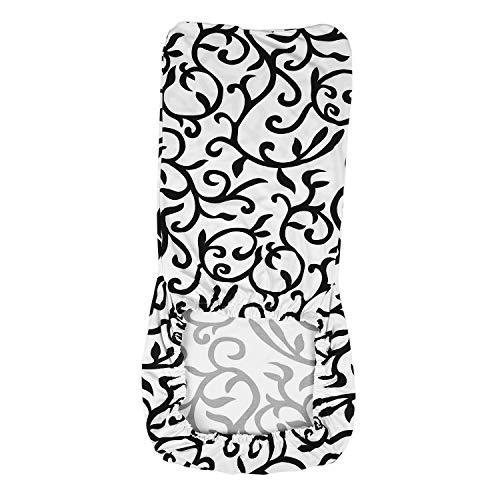 Gesh Funda elástica para silla de comedor, cubierta de silla corta, lavable, protector de asiento para boda, fiesta, restaurante, banquete, decoración del hogar (blanco + negro)