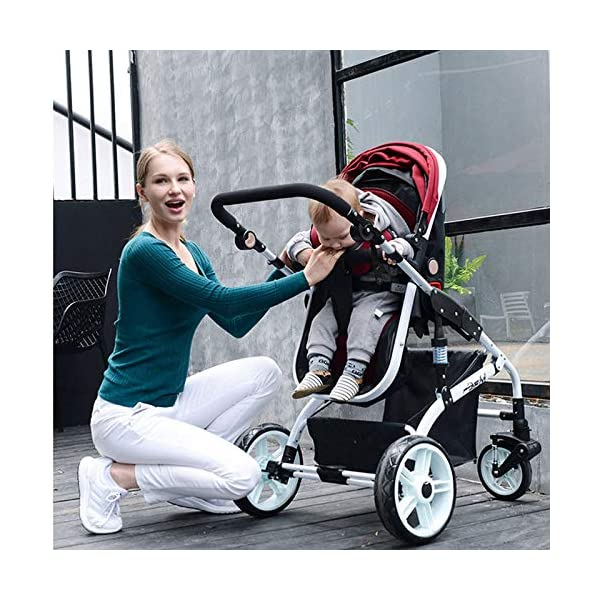 JXCC Baby Stroller Ultra Light Folding Child Shock Absorber Trolley Can Sit Half Lying 0-3 years old,25kg maximum -Safe And Stylish Blue JXCC 1.{All seasons} - Three-sided leaky net design, the awning can be adjusted at multiple angles, easy to cope with the sun 2.{75CM high landscape} - Baby can stay away from the surface heat, car exhaust, for the health of the baby 3.{3D stereo shock} - X-frame setting, evenly dispersing the upper weight, rear wheel two-wheel brake 9