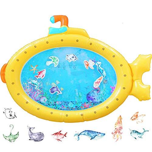 Alfombra Inflable del Agua para Bebé - WENTS Baby Water Mat Tapetes De Juego Inflables A Prueba De Fugas Amarillo Submarine Para el Desarrollo Temprano Del Bebé 85x63CM