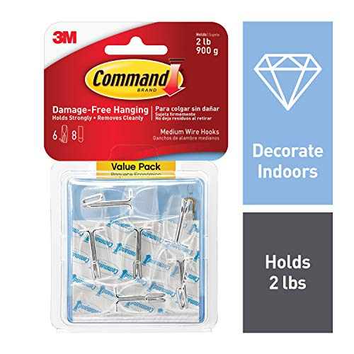 Command Wire Toggle Hook Value Pack, Medium, Clear, 6-Hooks (17065CLR-6ES), Great for dorm decor