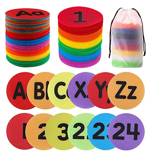 50 Pieces Carpet Spot Sit Markers, 4 inches Diameter Floor Dots Spots for School,Teachers,Classroom and Kids (1~24 Numbers and A~Z Alphabet)