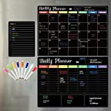 Dry Erase Calendar Blackboard. Set of 3 Magnetic Calendars for Refrigerator, Monthly, Weekly Organizer & Daily Notepad. Wall & Fridge Family Calendar. 8Markers