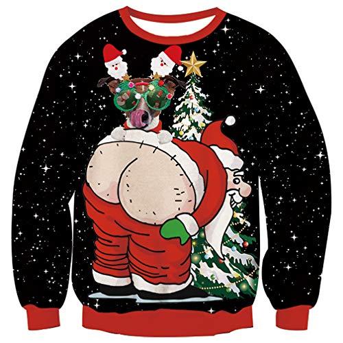 Fanient Maglione Natale Uomo Brutta 3D Stampa Babbo Natale Nero Grafico Maglione Natale Famiglia L