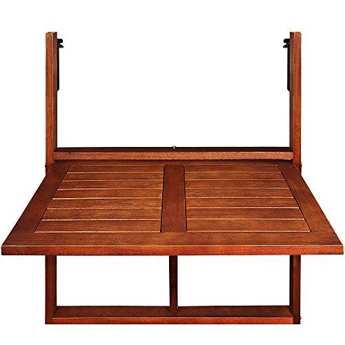 Deuba Mesa Plegable Abatible en Madera de Acacia Certificado FSC® para Balcones y terrazas pequeñas
