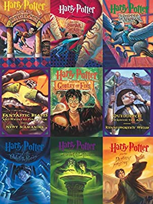 New York Puzzle Company - Harry Potter Book Cover Collage - 500 Piece Jigsaw Puzzle by New York Puzzle Company