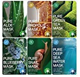 Tosowoong Pure masksheet 12PCS /Mask pack/Essence Facial Mask Sheet - Aloe/Blueberry/Green tea/Snail/Deep sea water/Propolis (6 Types X 2)
