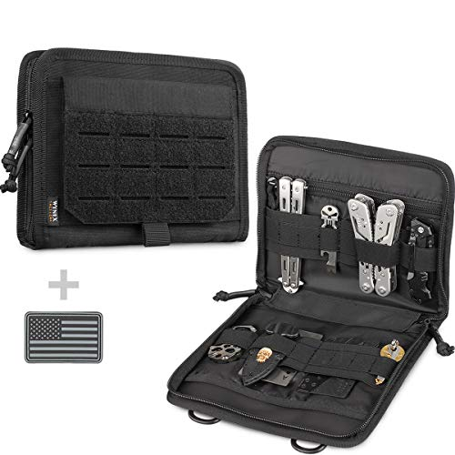 WYNEX Tactical Folding Admin Pouch, Molle Tool Bag of Laser-Cut Design, Utility Organizer EDC Medical Bag Modular Pouches Tactical Attachment Waist Pouch Include U.S Patch