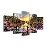 Cuadro sobre lienzo - Impresión de Imagen - Bicicletas canal Amsterdam arquitectura - 160x85cm - Imagen Impresión - Cuadros Decoracion - Impresión en lienzo - Cuadros Modernos - EA160x85-3081