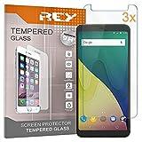 REY 3X Protector de Pantalla para WIKO View XL, Cristal Vidrio Templado Premium