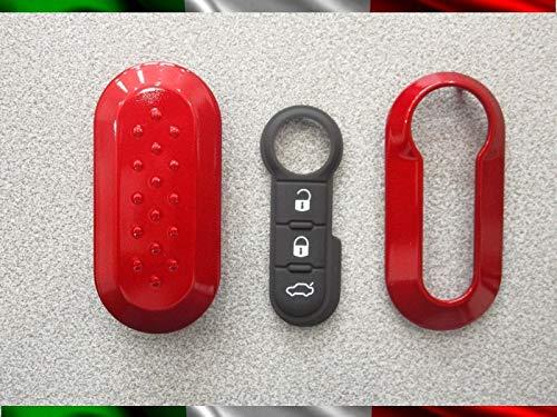 TOPBEST Cover Chiave Guscio + Tasti TASTINI in Gomma Fiat 500 Grande Punto Evo Bravo Panda 500L Lancia Y YPSILON MUSA Delta SCOCCA Rosso Rubino + Video Tutorial Esplicativo per Il Montaggio