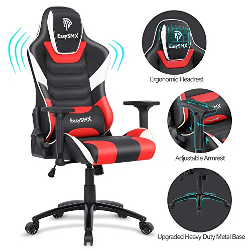 EasySMX Gaming Chair Big and Tall Gaming Chair Racing Office Computer Game Chair Ergonomic Backrest and Seat Height Adjustment Recliner Swivel Rocker with Headrest and Waist Tilting 350lbs chair gaming