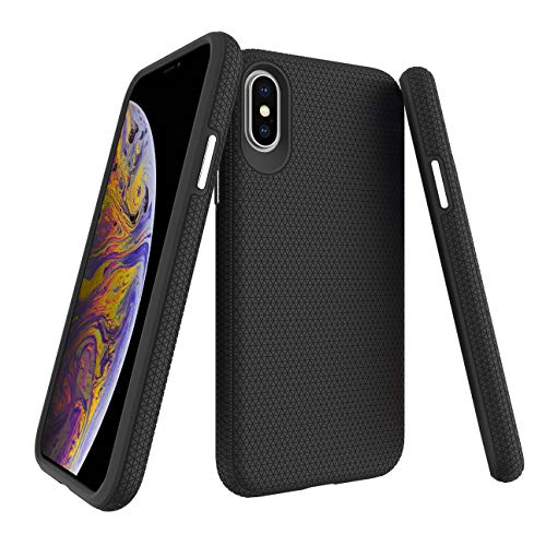 Molzar Shield Series iPhone Xs Case, iPhone X Case, Triangle Texture Grip, Built-in Metal Plate for Magnetic Car Phone Holder, Support Qi Wireless Charging, Compatible with Apple iPhone Xs/X, Black