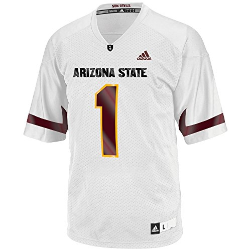 adidas Adult Men NCAA Replica Football Jersey, Large, White, Arizona State Sun Devils