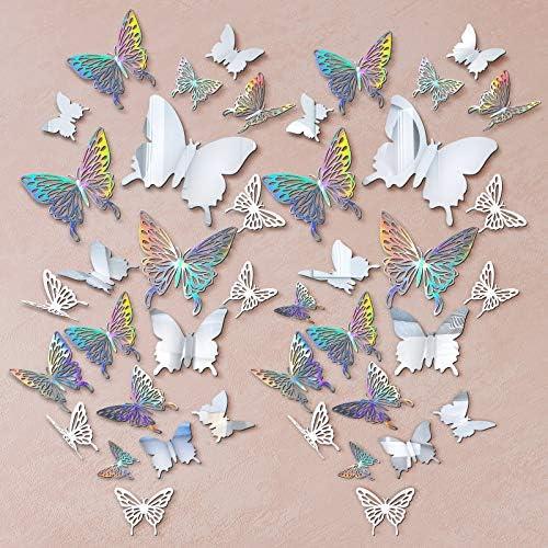 196 Pieces 3D Butterfly Wall Decoration Sticker Hollow Metallic Butterfly Decor Paper Butterflies product image