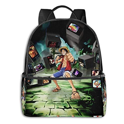 Anime Luffy - Mochila de TV de una pieza para estudiantes, unisex, mochila escolar, informal, clásica, para niños, niñas, 36,8 x 30,5 x 12,7 cm