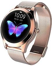CUEYU Smart Watch KW10, rond touchscreen, IP68 waterdichte smartwatch voor vrouwen, fitnesstracker met hartslag- en slaappedometer, armband voor iOS en Android (A-goud)