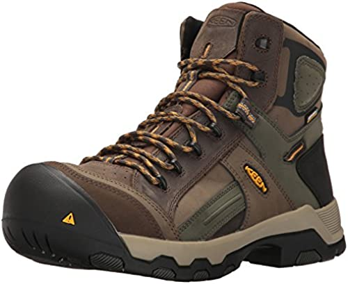 Keen Utility Men& 039;s Davenport Mid All Leather WP Industrial and Construction schuhe, Shitake Forest Night, 14 2E US