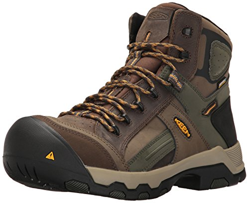 KEEN Utility Men's Davenport Mid All Leather Waterproof Industrial and Construction Shoe, Shitake/Forest Night, 10 2E US Work Boot, 10EE