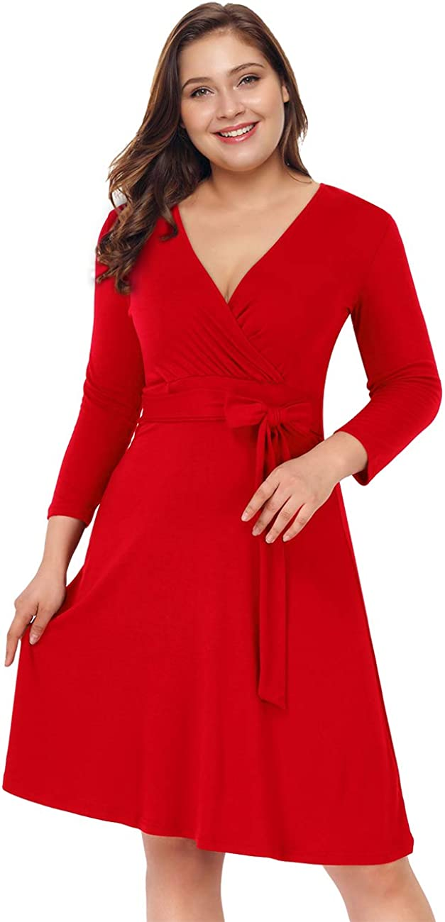 AMZ PLUS Womens V-Neck 3/4 Sleeve A Line Midi Faux Wrap Plus Size Cocktail Party Swing Dress