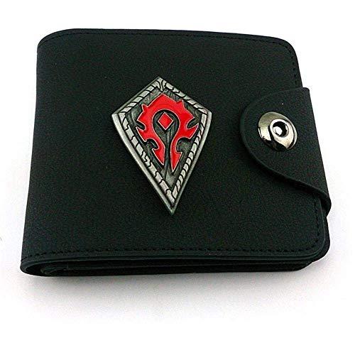 Panduo Billetera World of Warcraft Wow Wallet Alloy Logo Frosted Black Leather Punk Wallet Clip de Dinero Unisex, fácil de Llevar Tarjetas y Documentos (Color : Black, Size : A)