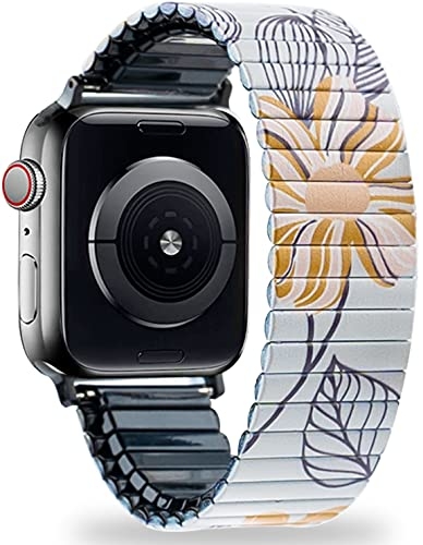 LEPASIVE Stretchy Stainless Steel Solo Loop Band Compatible with Apple Watch 38mm 40mm, Metal Expansion Wristband Elastic Strap with Cute Floral Print for iWatch Series 6/SE/5/4/3/2/1 (Daisy, S/M)