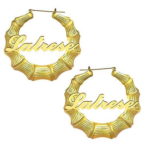 Pendientes con nombre de aro de bambú Pendientes personalizados Pendientes con nombre grabado Colgante con nombre para mujer(Dorado2 2.36)