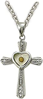 TrueFaithJewelry Sterling Silver Cross Pendant with Mustard Seed Heart Center, 1 1/4 Inch