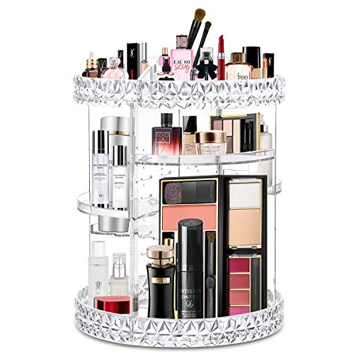 WILLED Acrylic Makeup Organizer 360 Rotating Adjustable Carousel Makeup Holder Cosmetic Storage Display Case, Fits Creams, Makeup Brushes, Lipsticks, Jewelry (Diamond Design)