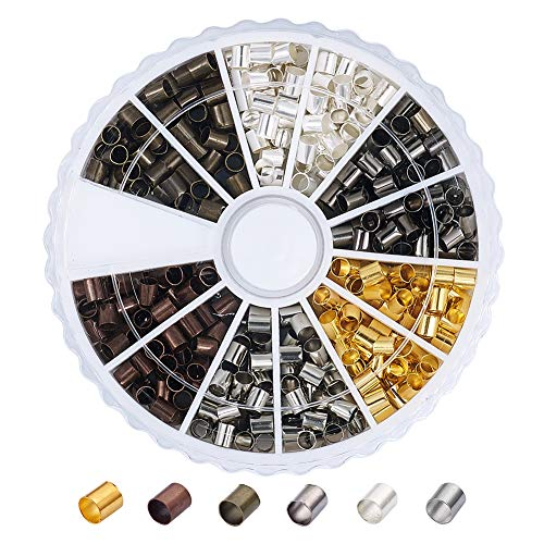 Pandahall 1Box/420pcs 6 Colors Brass Tube Crimp Beads Cord Cover Tips End Mixed Color 3x3mm Antique Bronze & Red Copper & Golden & Silver & Platinum & Black Tiny Lined Column Jewelry Findings