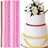 2 Pieces Diamond Bag Chain Silicone Fondant Mold Chain Shaped Silicone Baking Mold DIY Chocolate Candy Mold for Baby Shower Wedding Party Cake Decorations