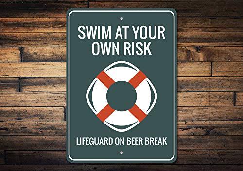 Yilooom Rettungsschwimmer Schild Schwimmen bei Risiko, Rettungsschwimmer Geschenk, Rettungsschwimmer Schild, Schwimmbadschild, Schwimmbad-Warnschild, kein Lifeguard Aluminium Schilder