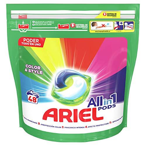 Ariel Todo En Uno Pods Color Detergente En Cápsulas 48Pods, 48Lavados, Perfecto Para Lavar A Baja Temperatura, Perfume Duradero