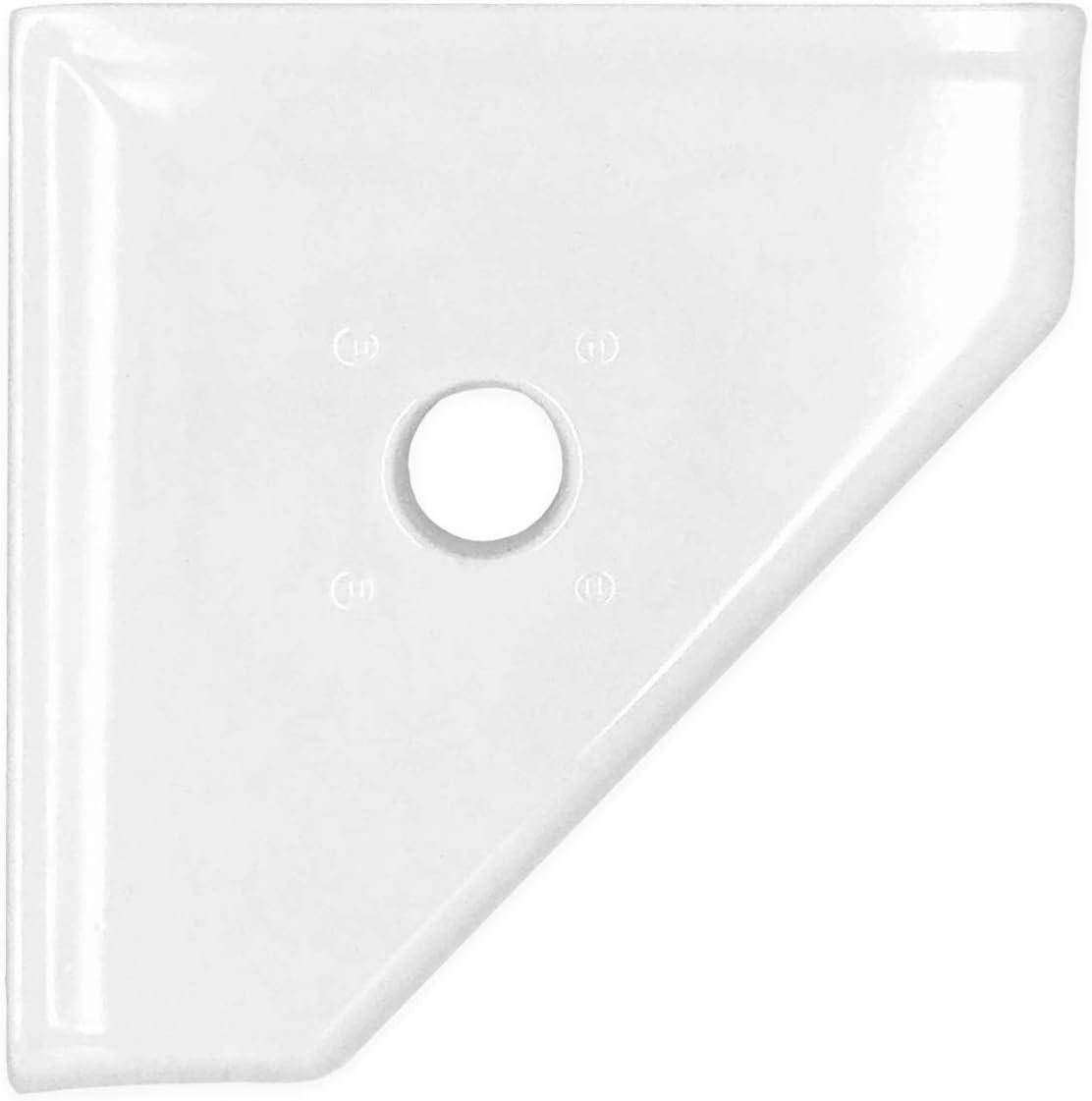 Questech 5 inch Shower Caddy Soap Dish - Polished Bright White Corner Soap Tray Geo Wall Mounted Flatback Shelf