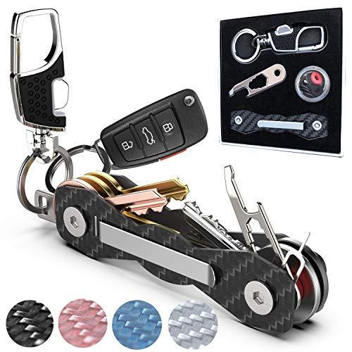 Carbon Fiber Compact Key Holder - Premium Heavy-Duty Key Organizer UP to 18 Keys -B0NUS Keychain Holder with Loop Piece for Belt or Car Keys - SIM & Bottle Opener + Video Instructions (Black Carbon)