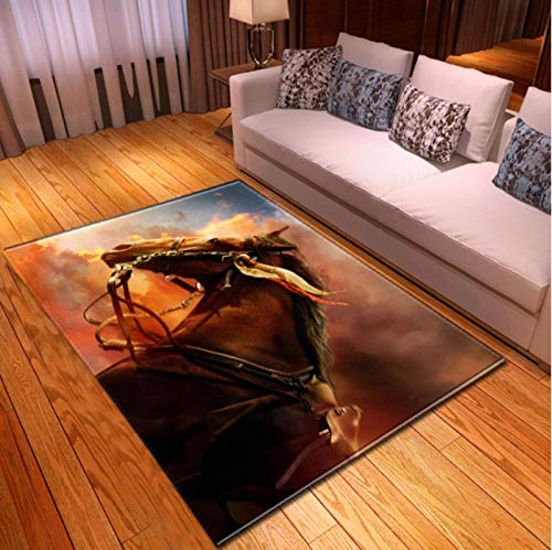 Horse In The Sandstorm 3D Printed Carpet Living Room Bedroom Non-Slip Carpet Coffee Table Sofa Area Exquisite Polyester Carpet60*90Cm