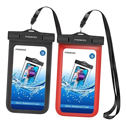 MoKo Fundas para teléfonos (Funda de protección, Universal, iPhone 12,12 Mini,12 Pro,iPhone 7, 6S Plus, 7 Plus, 6S/6/5S/SE, Galaxy S8 Plus, S21/S8/S6/S7 Edge, S5, J3, LG, Negro+Rojo