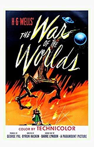 Pôster de impressão artística The War of The Worlds 1953 H.G. Wells 86,36 x 55,88 cm Reimpressão fora de impressão