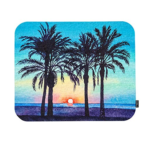 EKOBLA Summer Beach Outdoor Mouse Pad Tropical Plants Palm Trees Sea Theme Beautiful Nature Gaming Mouse Mat Non-Slip Rubber Base Thick Mousepad for Laptop Computer PC 9.5x7.9 Inch