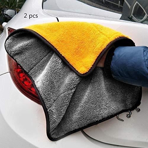 2 stks Grootte 30 * 30CM Auto Wassen Microvezel Handdoek Auto Schoonmaken Droogdoek Hemming Auto Wasdoek Detailing Auto Wassen Handdoek Voor Toyota Oranje en Grijs
