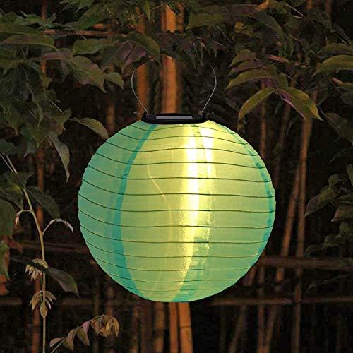 Solar Lampion LED Lampions Außen Garten Laterne,25cm Rund Ballform Lampenschirm Papierlaterner Papierlampen,IP55 Wasserdicht Hängende Garten Laterne für Hochtzeit Kirche Garten Party Dekoration