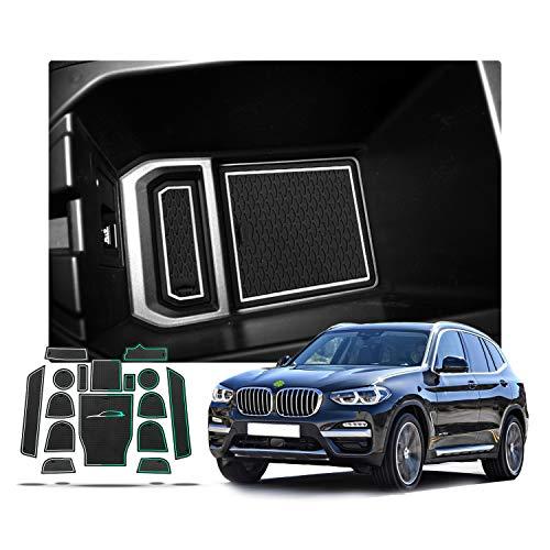 RUIYA Antirutschmatten für 2018 X3 G01 Auto Innere Türschlitz Arm Box Aufbewahrung Matten Pads , Anti-Staub, Tür-Slot-Pad, Cup Mat (Weiß)