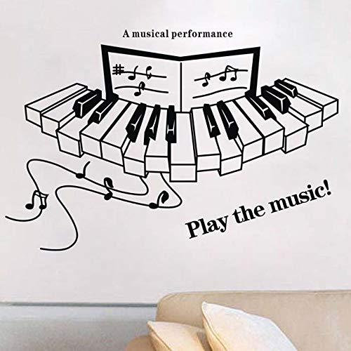 Speel de muziek! Quotes Vinyl Muurstickers Piano Muzieknoten Muursticker Voor Muziek Klas / 84x67cm