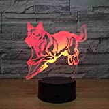CDBAMX wolf Hundebett Nachtlicht Weihnachtsgeschenk Für Babyzimmer Lichter Schöne 7 Farbwechsel 3D Lampe