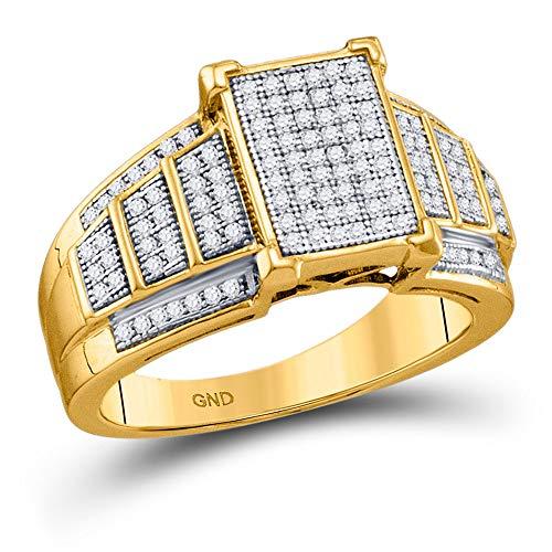Diamond2Deal - Anillo de oro amarillo de 10 quilates con diamante redondo rectangular para mujeres de 1/3 quilates