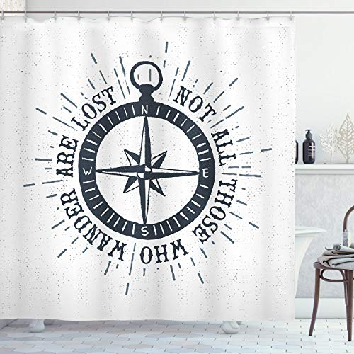 Lunarable Not All Who Wander are Lost Shower Curtain, Compass and Wind Rose Nautical Theme Voyage Words, Cloth Fabric Bathroom Decor Set with Hooks, 70' Long, Slate Blue and White