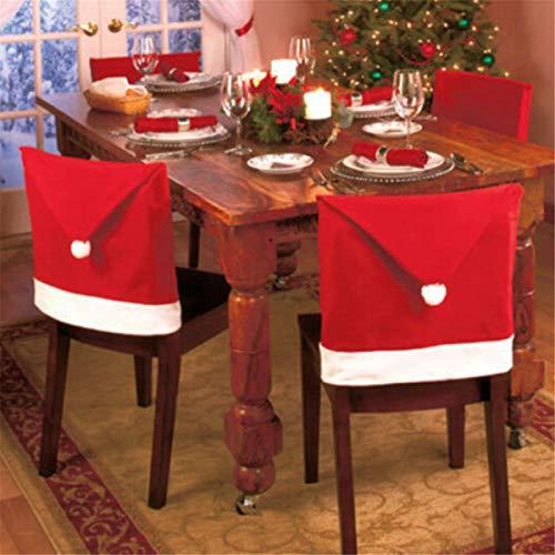 Dreamworldeu 4er Stuhlhusse Weihnachten Deko Stuhlabdeckung Hussen Rot Stuhlbezug Weihnachtsmann